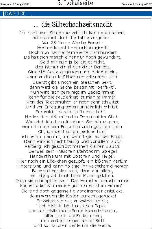 Silberhochzeit Ute Amp Werner Klln Silberhochzeitszeitung